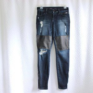 Guess Ripped Jeans With Faux Leather Knees